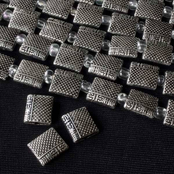 Gun Metal Colored Pewter 9x10mm Puff Pillow with Dots and Chinese Characters - approx. 8 inch strand - basea29281gm