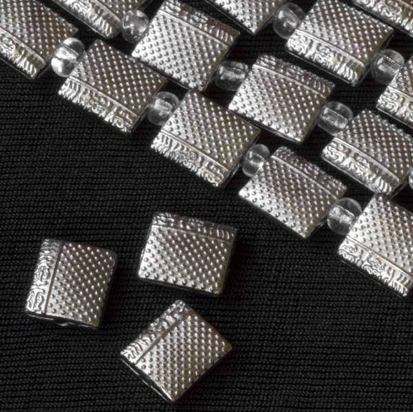 Silver Pewter 9x10mm Puff Pillow Beads with Dots and Chinese Characters - approx. 8 inch strand - basea29281s