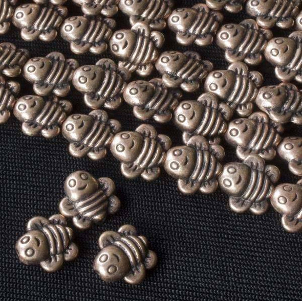 Vintage Copper Colored Pewter 9mm Bumblebee Beads - approx. 8 inch strand - basea29435vc