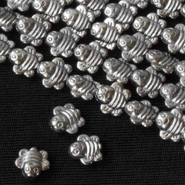 Gun Metal Colored Pewter 9mm Bumblebee Beads - approx. 8 inch strand - basea29435gm