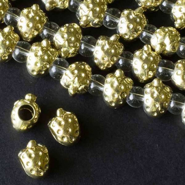 Gold Colored Pewter 12x14mm Horizontally Drilled and Large Hole Strawberry Beads -approx. 8 inch strand - basea29674g