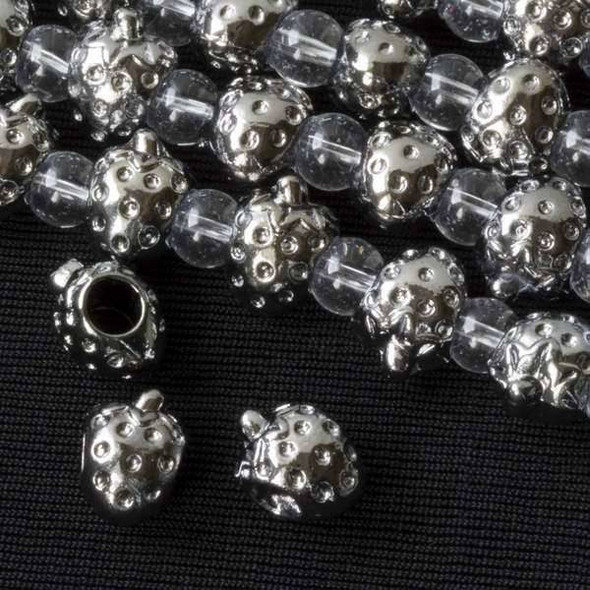 Gun Metal Colored Pewter 12x14mm Horizontally Drilled and Large Hole Strawberry Bead - approx. 8 inch strand - basea29674gm