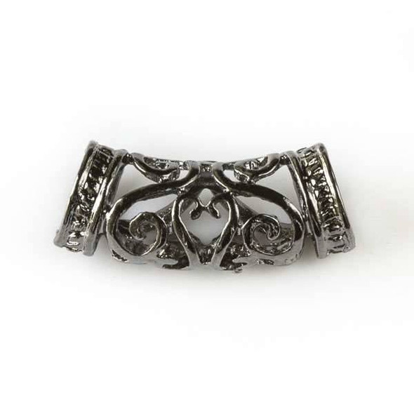 Gun Metal Colored Pewter 10x26mm Hollow Center Piece with Heart and Swirls and 7mm Large Hole - 3 per bag - basea40359gm