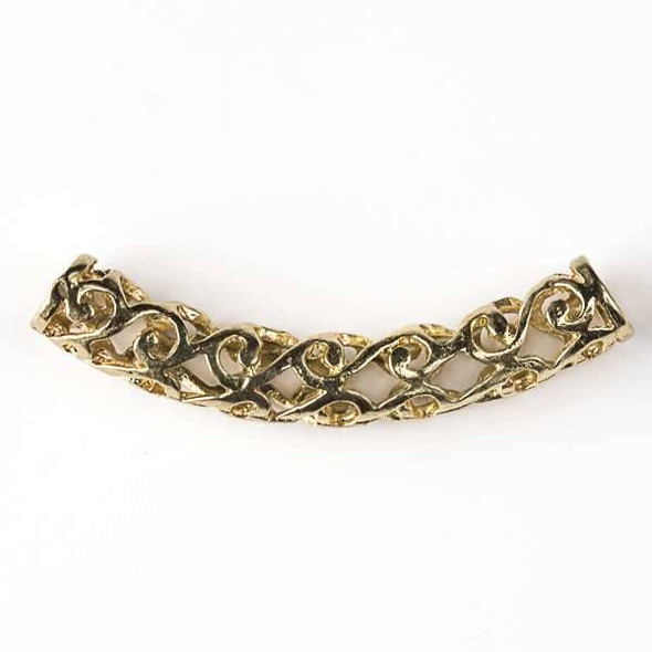Gold Colored Pewter 8x50mm Hollow Center Piece with Waves and 5mm Large Hole - 2 per bag - basea40367g