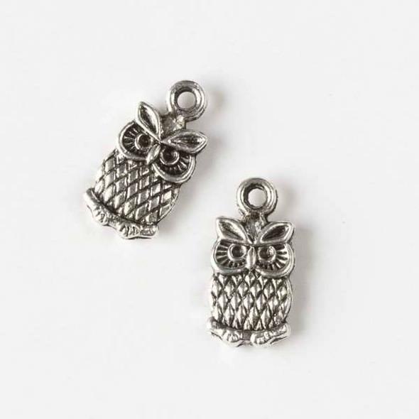 Silver Pewter 15x17mm Owl Charm - 10 per bag