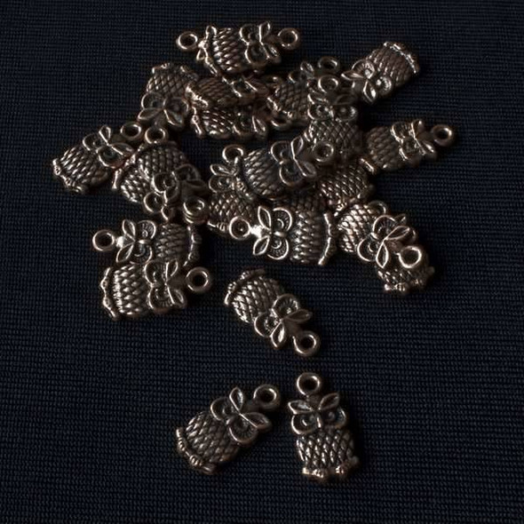 Vintage Copper Colored Pewter 15x17mm Owl Charm - 10 per bag