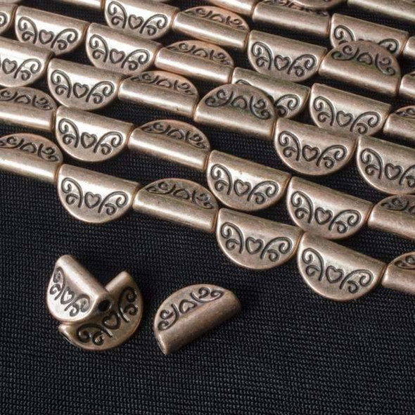 Vintage Copper Colored Pewter 8x13mm Flag Beads with a Heart - approx. 8 inch strand - basea46260vc