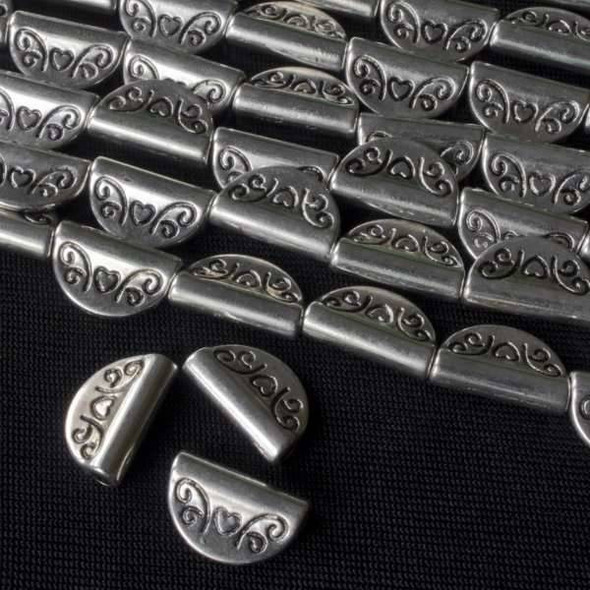 Silver Pewter 8x13mm Flag Beads with Heart - approx. 8 inch strand - basea46260s