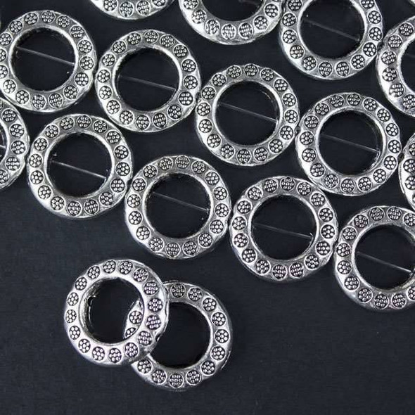 Silver Pewter 19mm Thai Style Donut Beads with Stamped Daisies - approx. 8 inch strand - basea46408s