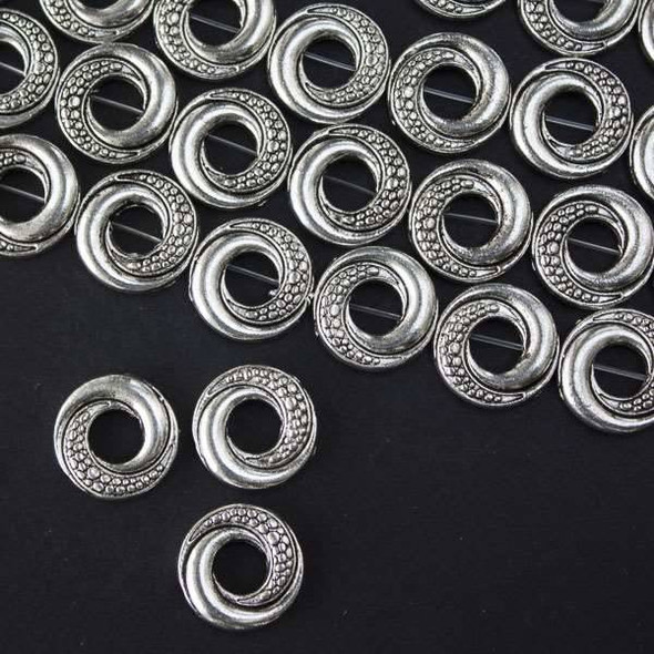 Silver Pewter 14mm Donut Beads with Bumpy Swirled Scales - approx. 8 inch strand - basea46409s