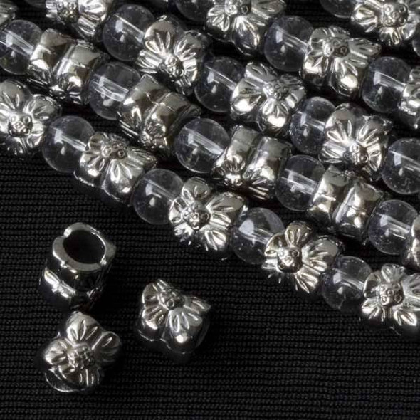 Gun Metal Colored Pewter 8mm Large Hole Flower Tube Beads - approx. 8 inch strand - basea46843gm