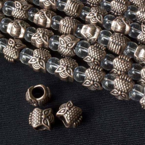 Vintage Copper Colored Pewter 8x10mm Horizontally Drilled and Large Hole Sassy Owl Beads - approx. 8 inch strand - basea47086vc