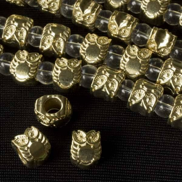 Gold Colored Pewter 8x10mm Horizontally Drilled and Large Hole Wise Owl Beads - approx. 8 inch strand - basea47088g