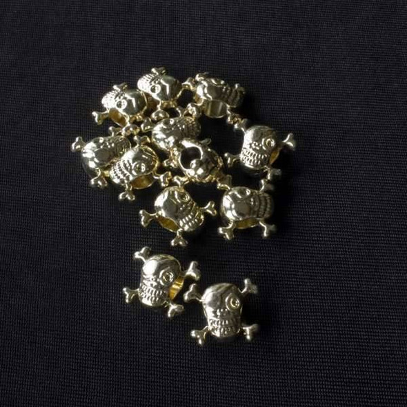 Gold Colored Pewter 13x15mm Large Hole Pirate Skull Beads - approx. 8 inch strand - basea47202g