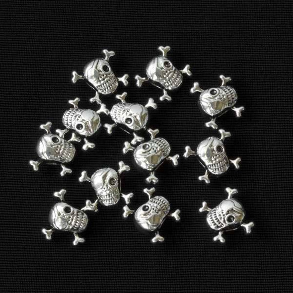 Silver Pewter 13x15mm Large Hole Pirate Skull Beads - 12 per bag - basea47202s