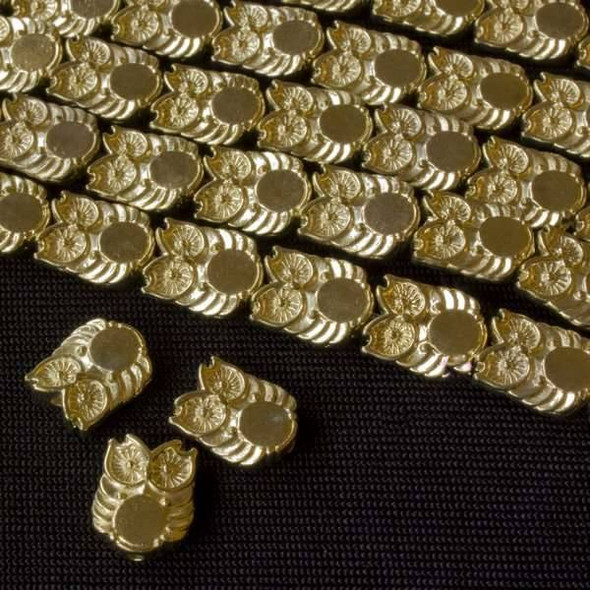 New Gold Colored Pewter 8x10mm Owl Beads - approx. 8 inch strand - basea47213g