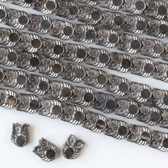 Gun Metal Colored Pewter 8x10mm Owl Beads - approx. 8 inch strand - basea47213gm