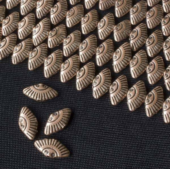 Vintage Copper Colored Pewter 6x12mm Fan Beads - approx. 8 inch strand - basea47278vc