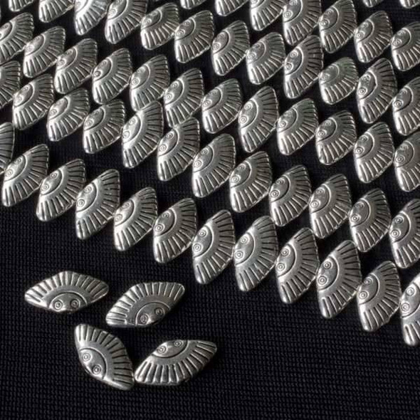 Silver Pewter 6x12mm Fan Beads - approx. 8 inch strand - basea47278s