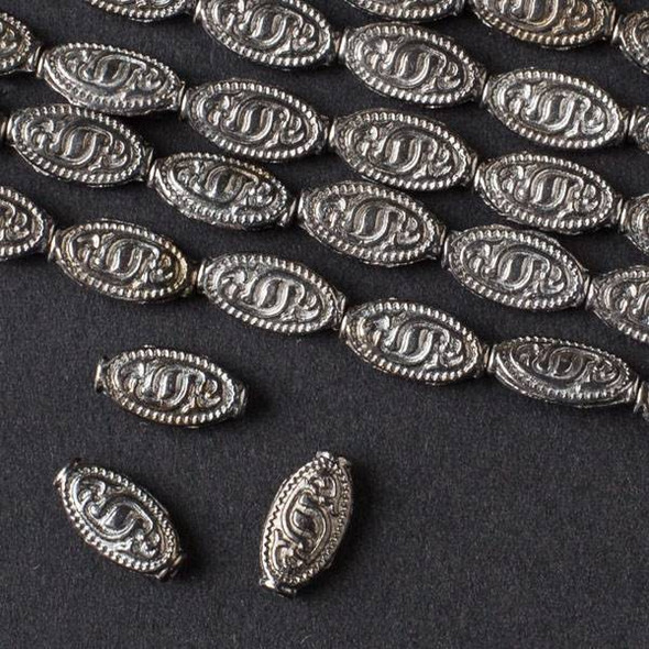 Gun Metal Colored Pewter 5x10mm Oval with Tribal Mark - approx. 8 inch strand - basea47281gm