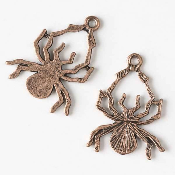Vintage Copper Colored Pewter 24x30mm Spider Pendant - 5 per bag