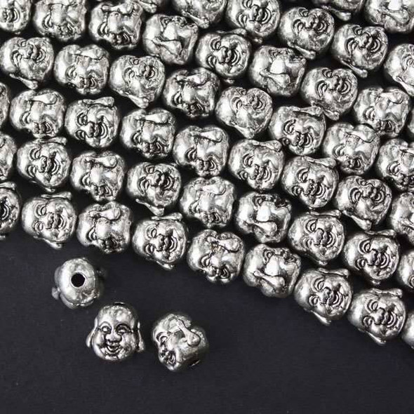 Silver Pewter 10mm Happy Buddha Head Beads - approx. 8 inch strand - basea49766s