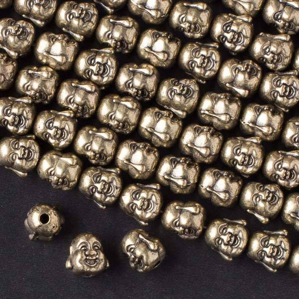 Vintage Bronze Colored Pewter 10mm Happy Buddha Head Beads - approx. 8 inch strand - basea49766vb