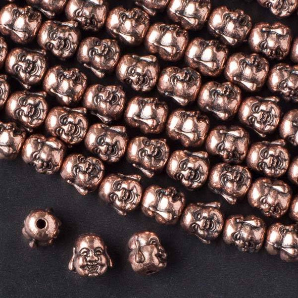 Vintage Copper Colored Pewter 10mm Happy Buddha Head Beads - approx. 8 inch strand - basea49766vc