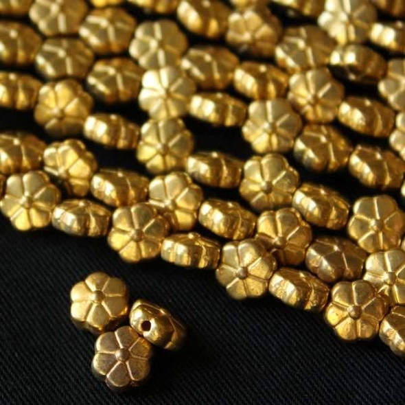 Gold Colored Pewter 4x7mm Flower Beads - approx. 8 inch strand - basea5031g