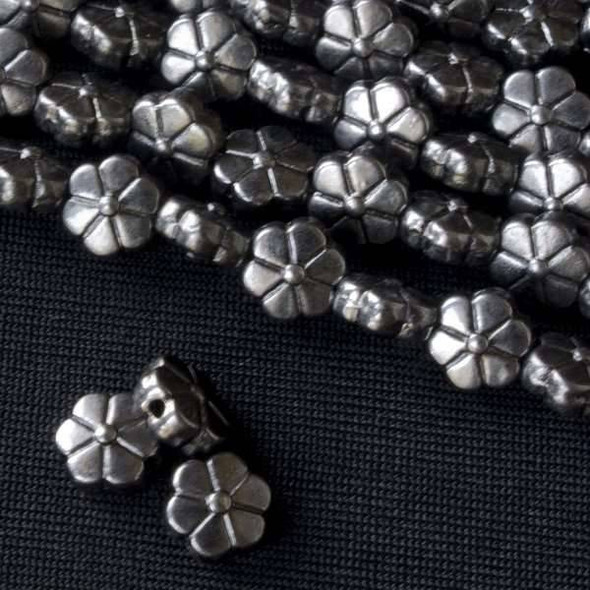 Gun Metal Colored Pewter 4x7mm Flower Beads - approx. 8 inch strand - Basea5031gm