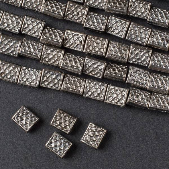Gun Metal Colored Pewter 6x12mm Rectangle with Circle Pattern - approx. 8 inch strand - Basea5039gm