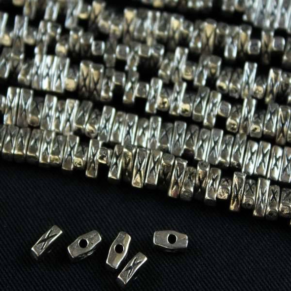 Silver Pewter 2x6mm Cubed Rectangle Beads with X Mark - approx. 8 inch strand - basea5065