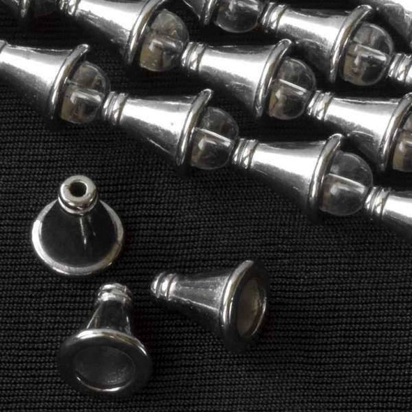 Gun Metal Colored Pewter 10x12mm Cone Bead Caps - approx. 8 inch strand - basea6672gm