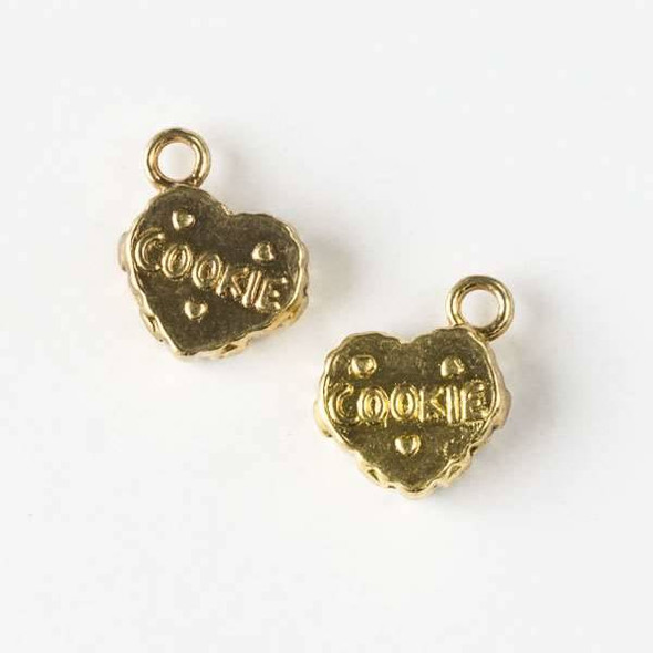 Gold Colored Pewter 12mm Cookie Heart Charm - 12 per bag