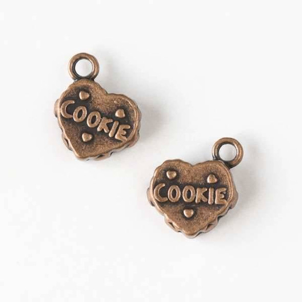 Vintage Copper Colored Pewter 12mm Cookie Heart Charm - 12 per bag