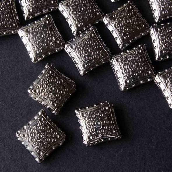 Gun Metal Colored Pewter 15mm Diamond Bead with Flower and Dots - approx. 8 inch strand - basea8in25437gm
