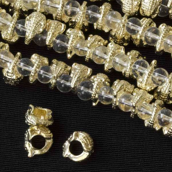 Gold Colored Pewter 12mm Large Hole Lizard Beads - approx. 8 inch strand - basea8in26098g