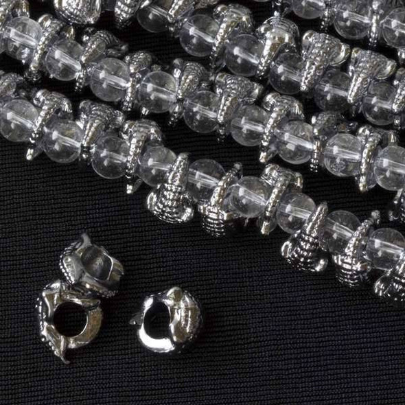 Gun Metal Colored Pewter 12mm Large Hole Lizard Beads - approx. 8 inch strand - basea8in26098gm