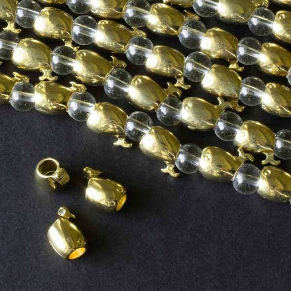 Gold Colored Pewter 9x11mm Large Hole Whale Beads - approx. 8 inch strand - basea8in46855g