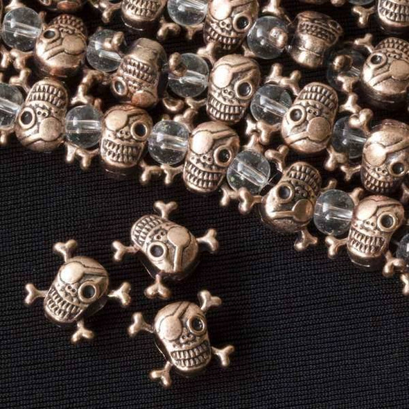 Vintage Copper Colored Pewter 13x15mm Large Hole Pirate Skull Beads - approx. 8 inch strand - basea8in47202vc