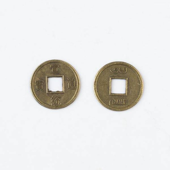 Brass 15mm Chinese Coin - 10 per bag - baseachcn15