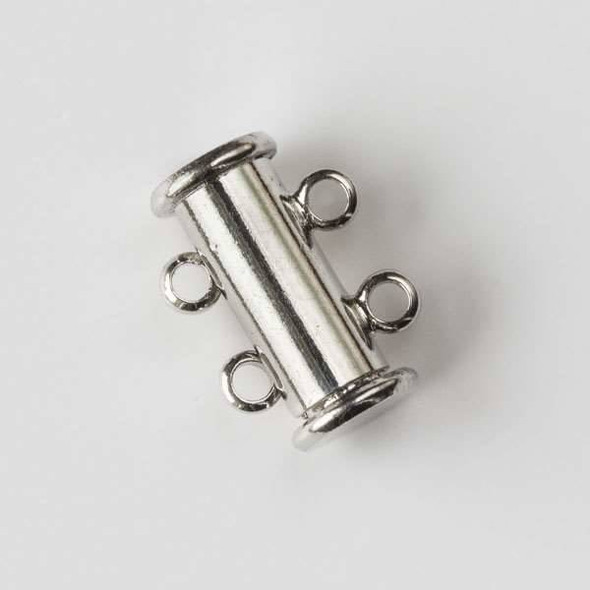 Silver Pewter 10x15mm Magnetic Double Strand Tube Clasp - 2 clasps per bag - baseaCHD011s