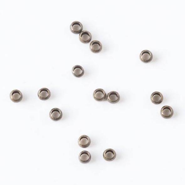 Vintage Bronze Colored Pewter 2mm Crimp Beads - 100 per bag - baseacr2vb