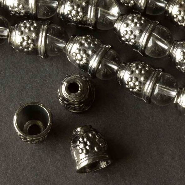 Gun Metal Colored Pewter 10x11mm Bell Bead Cap with Daisies - approx. 8 inch strand - baseact-00924gm