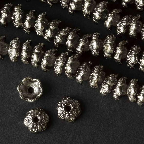 Gun Metal Colored Pewter 4x8mm Bead Cap with Circles - approx. 8 inch strand - baseact-01915gm