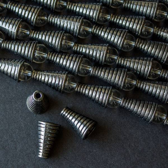 Gun Metal Colored Pewter 10x15mm Grooved Cone Bead Caps - approx. 8 inch strand - baseact-8560gm
