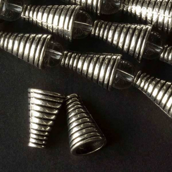 Silver Pewter 10x15mm Grooved Cone Bead Caps - approx. 8 inch strand - baseact-8560s