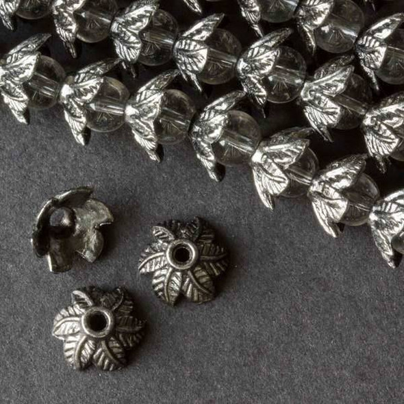 Gun Metal Colored Pewter 6x11mm Leaf Bead Caps - approx. 8 inch strand - baseact-09396gm