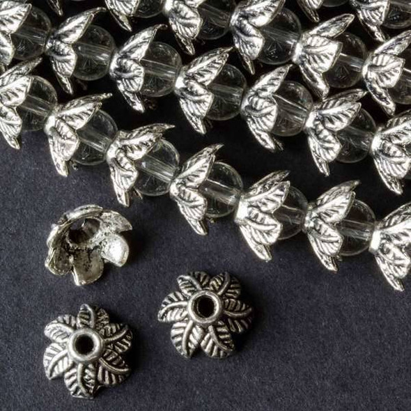 Silver Pewter 6x11mm Leaf Bead Caps - approx. 8 inch strand - baseact-09396s