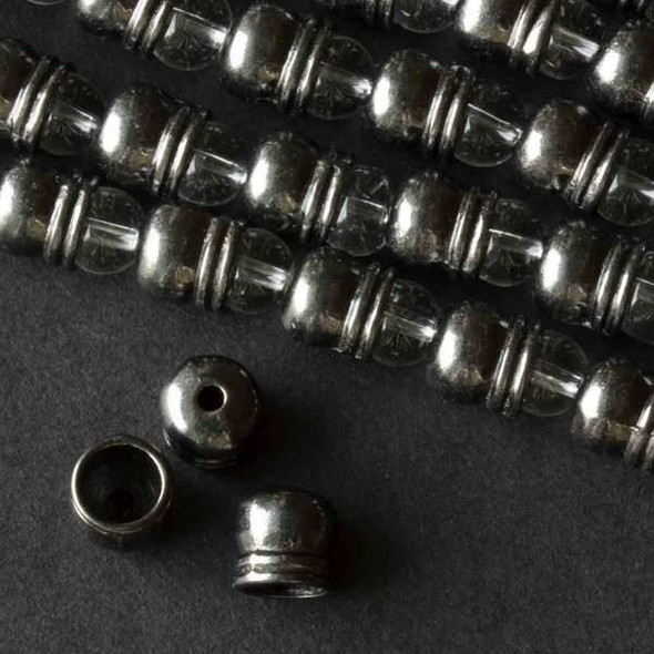 Gun Metal Colored Pewter 7x8mm Smooth Bead Caps with a Lip - approx. 8 inch strand - baseact-10064gm